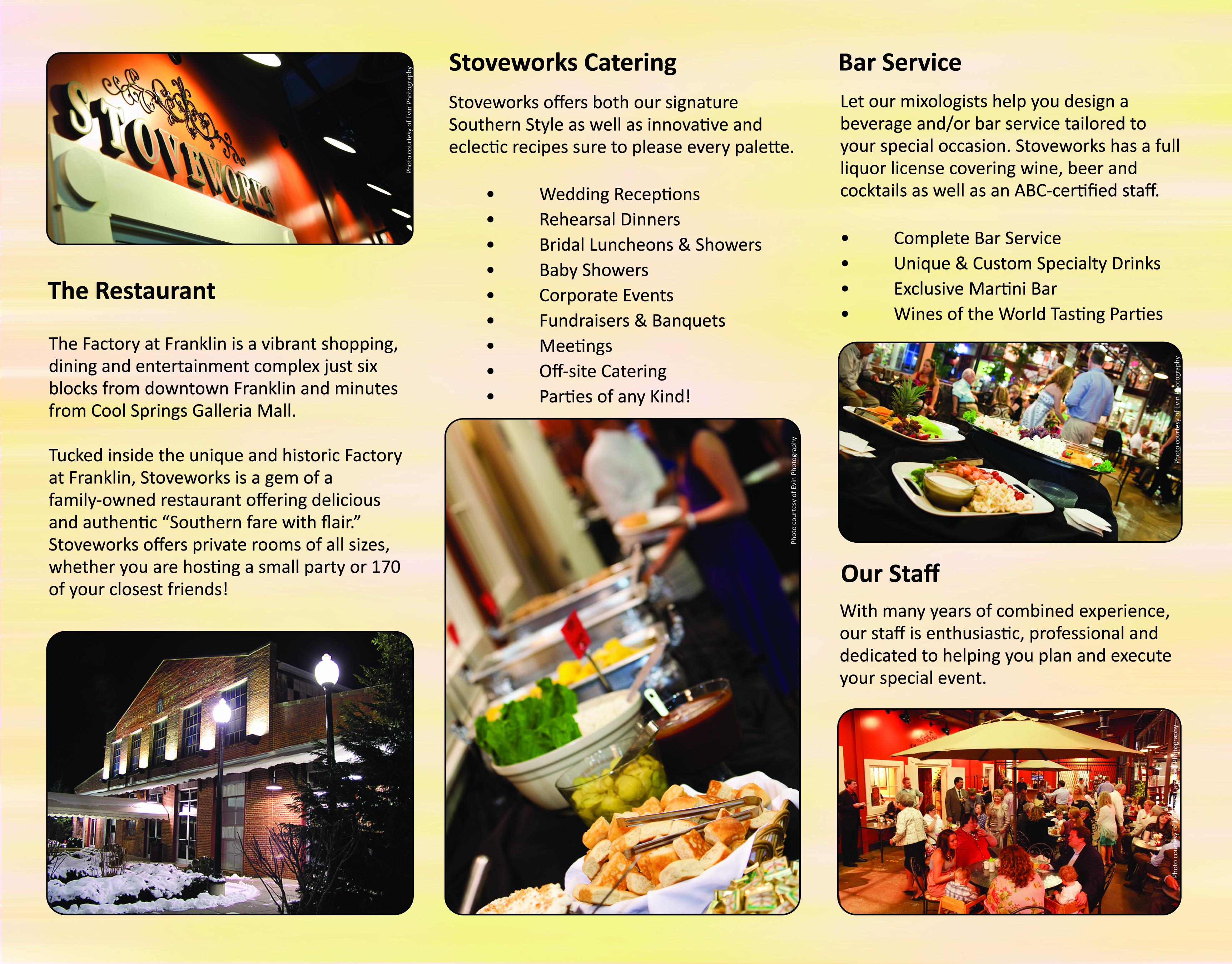 stoveworks restaurant brochure  u2013 designs by terri brown