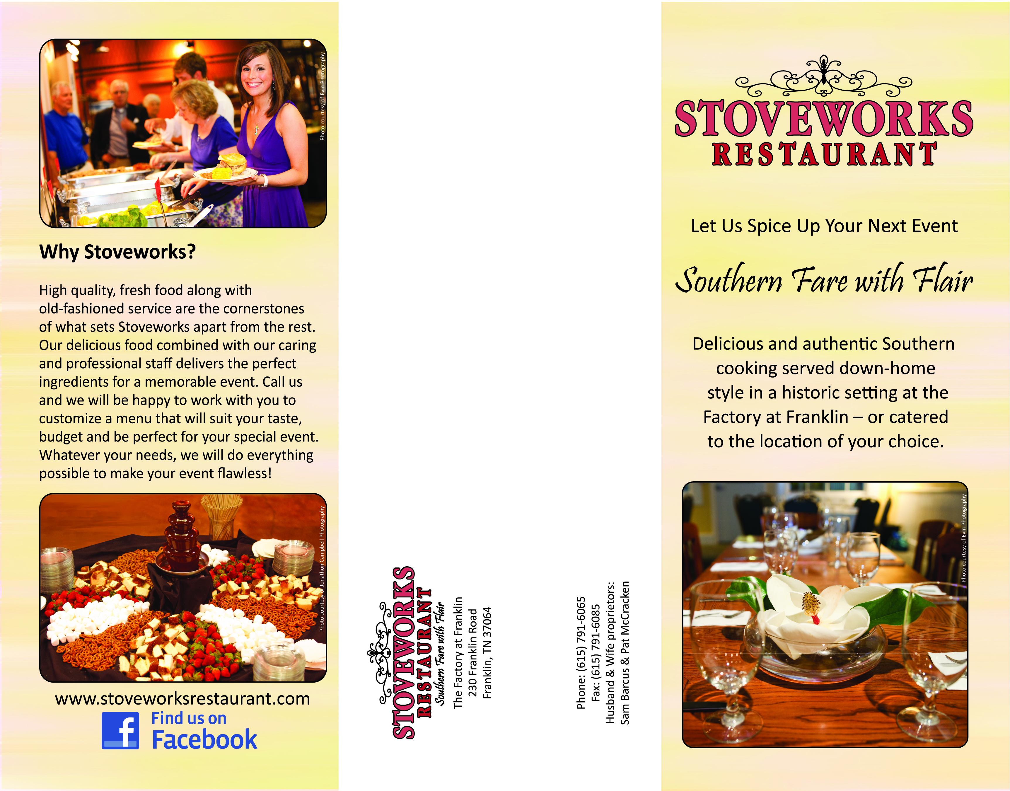 Stoveworks restaurant brochure designs by terri brown